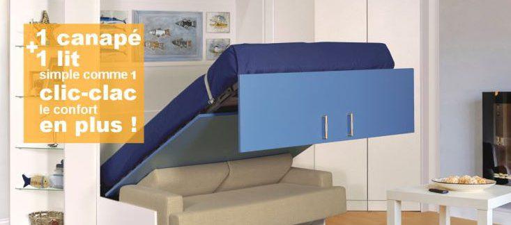 Lit relevable avec canapé intégré