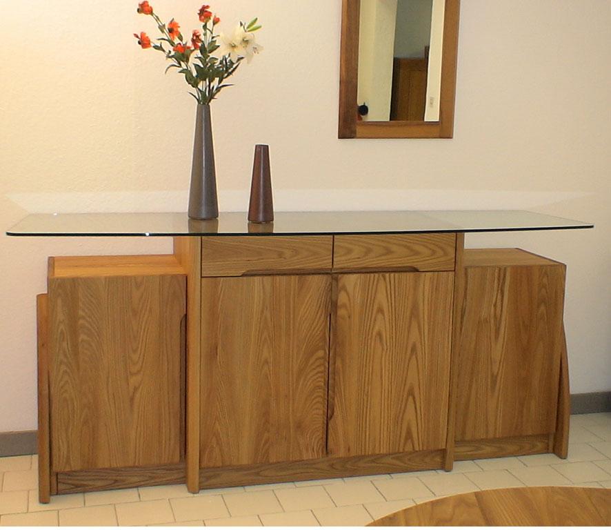 Bahut artemis 4 portes 2 tiroirs plateau verre meubles aare for Meuble artemis