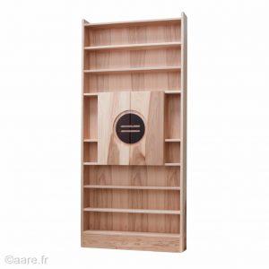 Poignées prise de main cercle zen porte de bibliothèque avec rayonnage en bois
