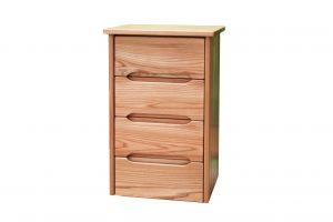 Petit meuble bois massif avec 4 tiroirs poignées intégrées aux facades