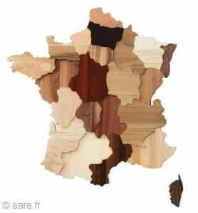 Tableau des regions de France presentant differentes essences de bois