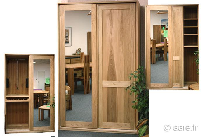 armoire 2 portes coulissantes orme gris massif sur mesure