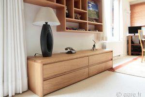 meuble bas à tiroirs en chene massif