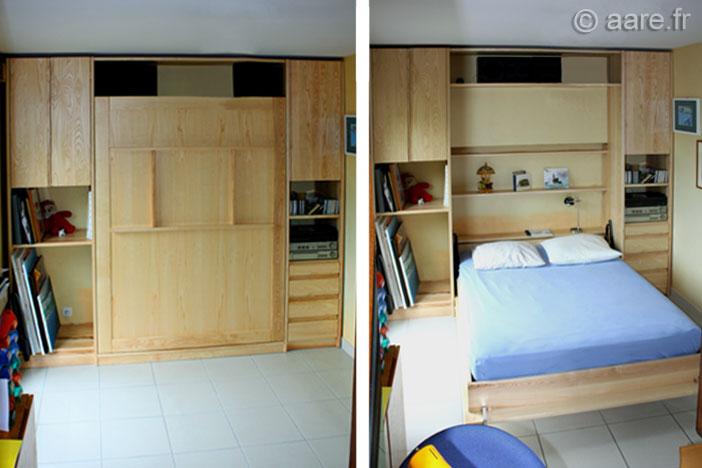 lit abattant D bois massif sur-mesure