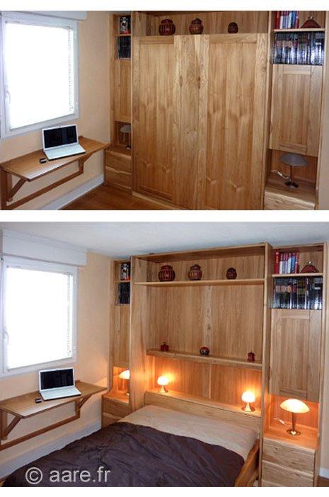lit abattant F bois massif sur-mesure